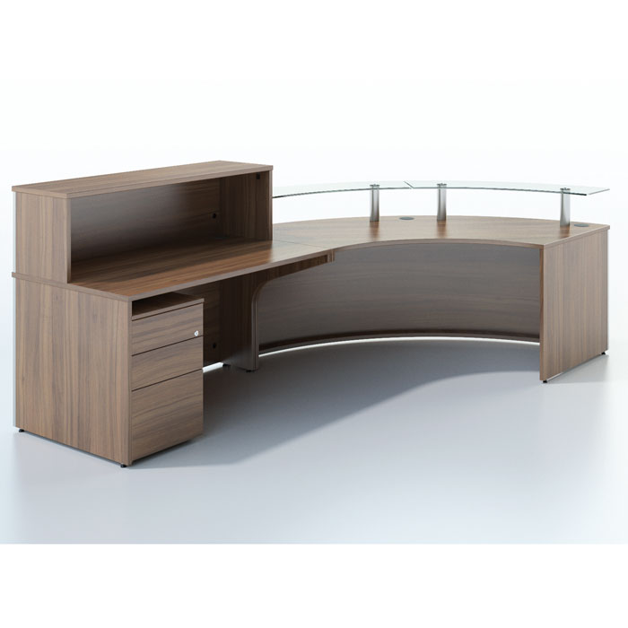 New Curved Reception Desk With Glass Sign In Area Round